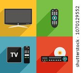 smart tv  remote control  dvd... | Shutterstock . vector #1070129552