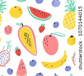vector tropical fruit... | Shutterstock .eps vector #1070144015