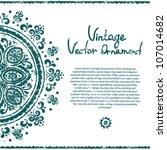 vintage blue ornament greeting... | Shutterstock .eps vector #107014682