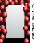 beautiful red balloons randomly ... | Shutterstock .eps vector #1070150792
