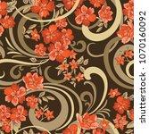 floral seamless pattern. flower ...   Shutterstock .eps vector #1070160092