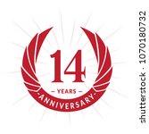 14 years anniversary. elegant... | Shutterstock .eps vector #1070180732
