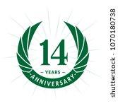 14 years anniversary. elegant... | Shutterstock .eps vector #1070180738