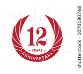 12 years anniversary. elegant... | Shutterstock .eps vector #1070180768