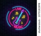neon sign of bar with live... | Shutterstock .eps vector #1070182898