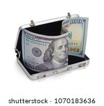 open grey briefcase with one... | Shutterstock . vector #1070183636