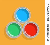 open paint cans  top view.... | Shutterstock .eps vector #1070189972