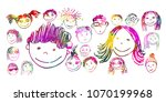 set of children's faces. vector | Shutterstock .eps vector #1070199968