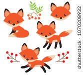 Stock vector cute fox vector cartoon illustration 1070208932
