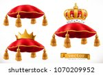 royal pillow and crown. 3d... | Shutterstock .eps vector #1070209952