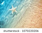 starfish on the summer beach in ... | Shutterstock . vector #1070220206