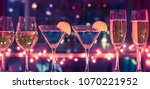 row of wine  cocktail ... | Shutterstock . vector #1070221952