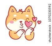 shiba inu  in love  kiss ... | Shutterstock .eps vector #1070230592