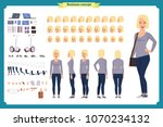 young woman  casual clothes.... | Shutterstock .eps vector #1070234132