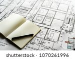 closeup of house plan blueprint | Shutterstock . vector #1070261996