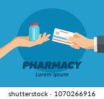 pharmacy flat poster. doctor... | Shutterstock .eps vector #1070266916