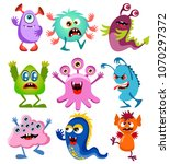 cute cartoon colorful mosters... | Shutterstock .eps vector #1070297372