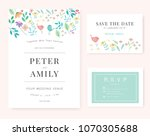 wedding invitation card with... | Shutterstock .eps vector #1070305688