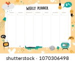 vector weekly planner with cute ... | Shutterstock .eps vector #1070306498