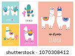 llama and alpaca collection of... | Shutterstock .eps vector #1070308412