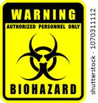 warning  biohazard  icon vector  | Shutterstock .eps vector #1070311112