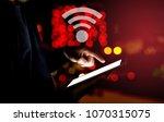 left hand of asian man touching ...   Shutterstock . vector #1070315075