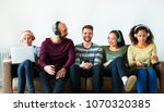 group of people enjoying music... | Shutterstock . vector #1070320385
