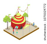 circus tent isometric 3d... | Shutterstock .eps vector #1070329772