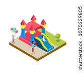 inflatable castle isometric 3d... | Shutterstock .eps vector #1070329805