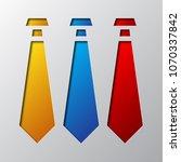 set of neckties is cut from the ... | Shutterstock .eps vector #1070337842