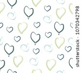 hand drawn blue and green heart ... | Shutterstock .eps vector #1070342798