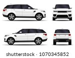 realistic suv car. front view ... | Shutterstock .eps vector #1070345852