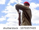 soldier with weapons parade ... | Shutterstock . vector #1070357435