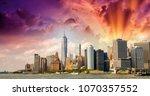 lower manhattan and east river...   Shutterstock . vector #1070357552