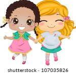 Best Friends - Illustration Featuring Two Girls Holding Hands While Walking - stock vector