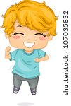 Illustration Featuring a Boy Jumping with Glee - stock vector