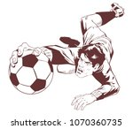 stock illustration. goalkeeper... | Shutterstock .eps vector #1070360735