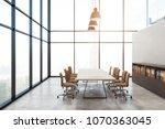 modern boardroom interior with... | Shutterstock . vector #1070363045