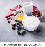 kitchen table with various... | Shutterstock . vector #1070363408
