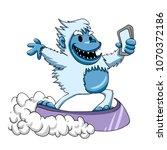 walking bigfoot cartoon | Shutterstock . vector #1070372186