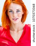 beautiful redhead freckled...   Shutterstock . vector #1070373368