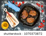 grilled pieces of delicious...   Shutterstock . vector #1070373872