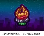 mexican hot food logo in neon... | Shutterstock .eps vector #1070375585