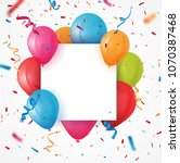 colorful birthday balloon with... | Shutterstock .eps vector #1070387468