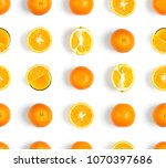 orange seamless pattern. fruit... | Shutterstock . vector #1070397686
