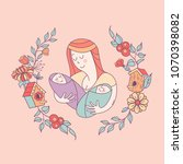 greeting card mother's day. the ... | Shutterstock .eps vector #1070398082