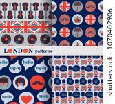 set of vector british seamless... | Shutterstock .eps vector #1070402906