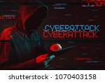 cyberattack concept with...   Shutterstock . vector #1070403158