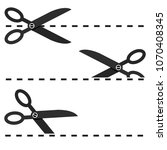 set of black scissors with cut... | Shutterstock .eps vector #1070408345