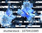 flower seamless pattern. floral ... | Shutterstock .eps vector #1070413385